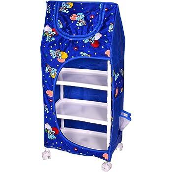 Tender Care Multipurpose 4 Shelve Baby Almirah/Wardrobe, Foldable Unbreakable Material (Blue)