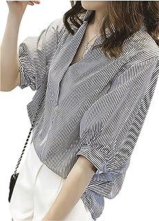 [ネコート] 半袖 Vネック シャツ ブラウス バックボタン ストライプ 大きいサイズ きれいめ M ~ XXL レディース