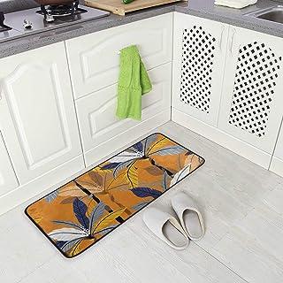 BLSYP Long Floor Mat Area Rug Doormat Orange Leaves Autumn Fall for Kitchen Bedroom Entrance Indoor