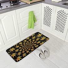 MNSRUU - Alfombra de Suelo para Cocina, 50 x 100 cm, diseño de Hojas de Marihuana, Color Amarillo