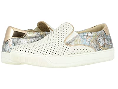 Johnston & Murphy Elaine Perfed (White Italian Nappa/Pewter Mosaic Leather) Women