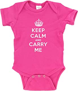 Keep Calm and Carry Me Funny Baby Bodysuit Creeper Pink (6-12 months)