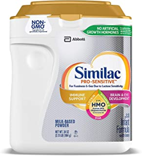 Similac Pro Sensitive Non-GMO Powder Infant Formula with Iron with 2'-FL HMO for Immune Support 34 oz. Plus Free Bonus 1 Pack of Disposable Bibs.