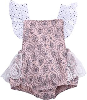 Baby Girls Lace Flower Printed Bodysuit Romper Jumpsuit Dot Backless Sunsuit