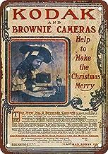 Placa decorativa de pared con diseño de cámaras Kodak Brownie de hojalata