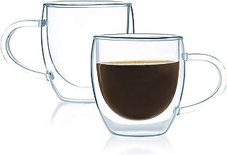 JavaFly 2335 Espresso Double Wall Bistro Mug with Handle Set of 6, 4 oz,
