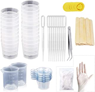 LET'S RESIN Disposable Plastic Resin Mixing Cups and Mixing Sticks kit- including 2pcs 100ml Measuring Cups,20pcs 2oz Grad...