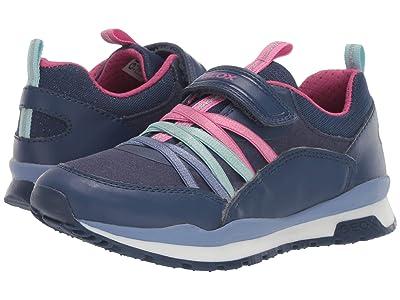 Geox Kids Jr Pavel 6 (Little Kid/Big Kid) (Navy/Pink) Girls Shoes