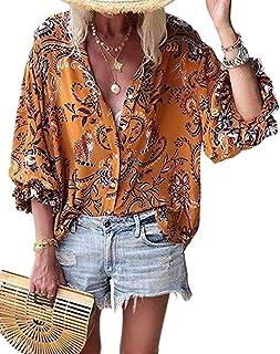 Shallood Camicette Casual Donna Magliette con Scollo a V Slim Fit Casual Bottone Camicia Stampa Floreale T-Shirt Tops Blusa