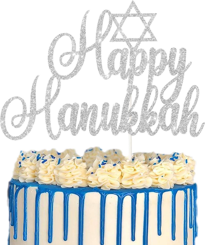 Silver Glitter Happy Hanukkah Cake Topper, Jewish Festival Cake Decor, Chanukah Holiday Party Decoration Supplies, Hanukkah Star of David Decor