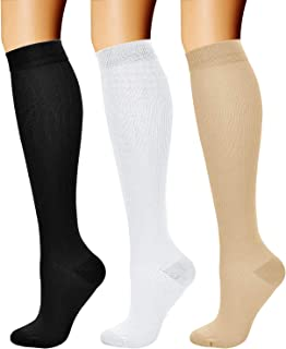 CHARMKING Compression Socks for Women & Men (3 Pairs) 15-20 mmHg is Best Athletic, Running, Flight, Travel, Nurses,Edema