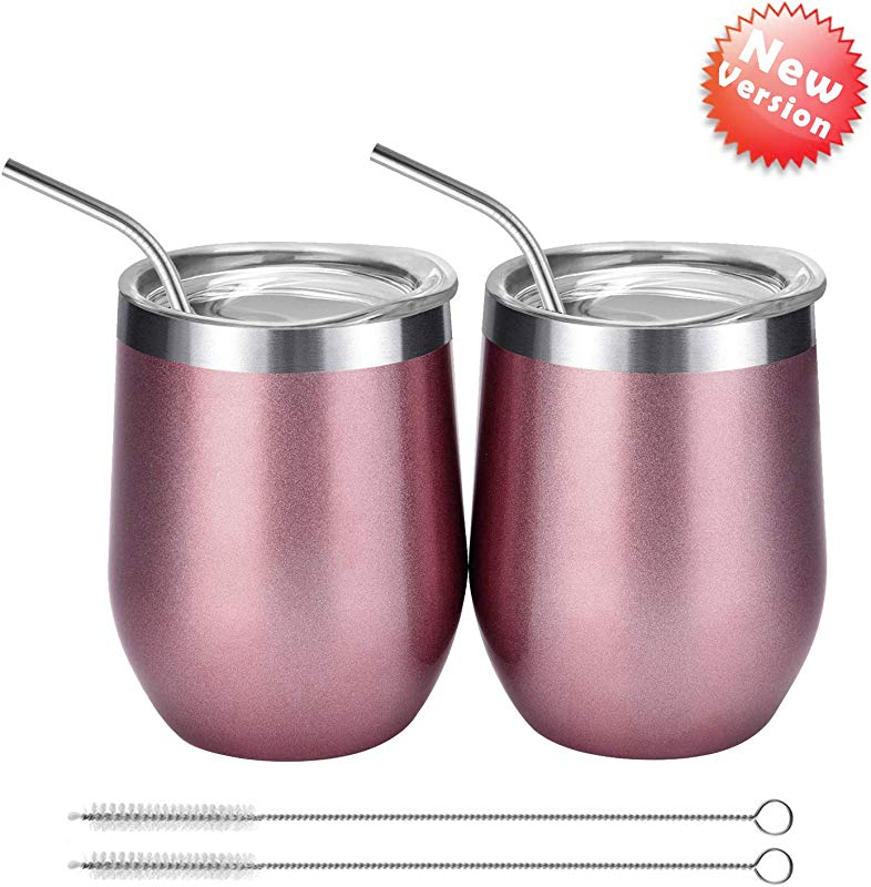 Vacuum Insulated Wine Tumbler With Lid Rose Gold Double Wall Stainless Steel Stemless Insulated Wine Glass Durable Insulated Coffee Mug For Champaign Cocktail Beer Office
