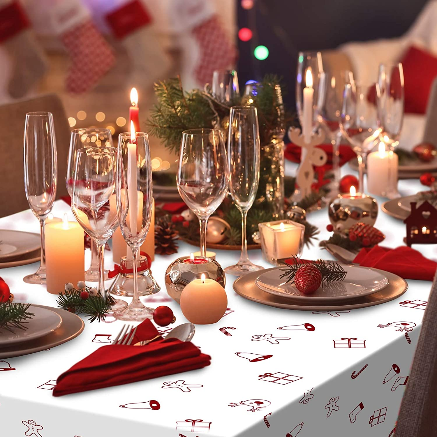 Aneco 2 Pack Christmas Party Tablecloth Table Cover Christmas Flower Disposable Tablecloth Table Cover 54 x 108 Inches for Christmas Party Decoration Supplies