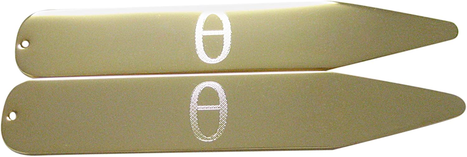 Gold Toned Etched Greek Letter Theta Collar Stays