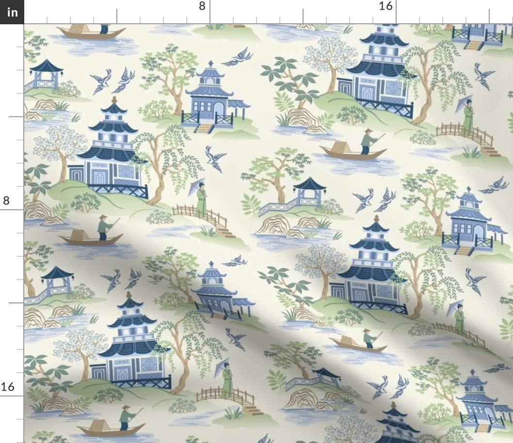 Tablecloth Chinoiserie Blue And White Pagoda Floral Watercolor Cotton Sateen