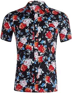 Men's Aloha Shirts Ultra Soft Shorts Sleeve Tropical Floral Allover Print Beach Party Casual Tees Hawaiian Shirts