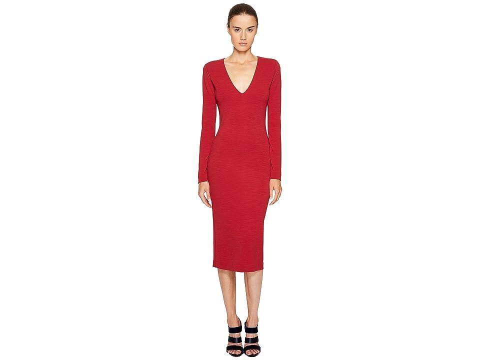 DSQUARED2 Wool Jersey Long Sleeve Dress (Red) Women