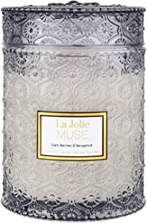 LA JOLIE MUSE Dark Berries & Bergamot Scented Candle, Large Glass Jar Candle, Candle Gift,100% Natural Soy Candle for Home...