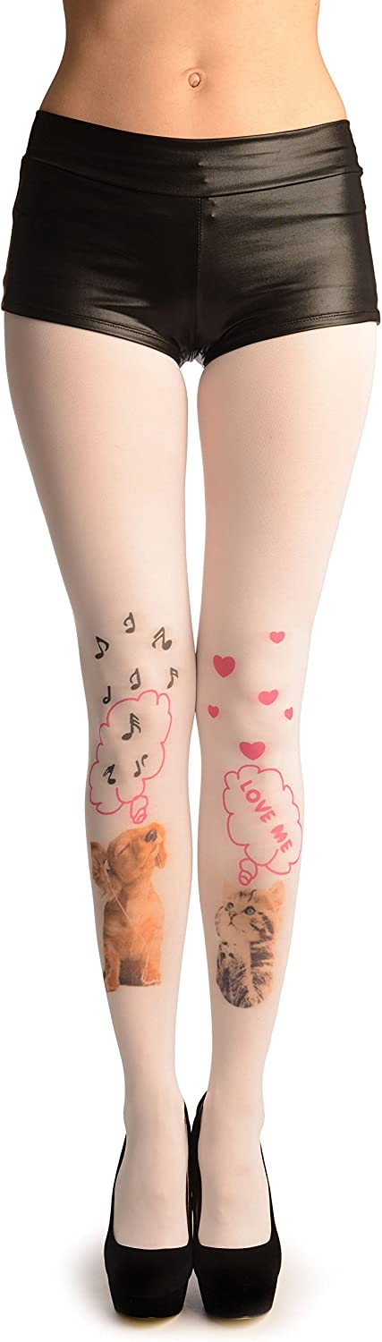 White With Singing Puppy & Dreaming Kitten - Pantyhose (Tights)