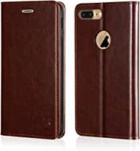 Belemay iPhone 7 Plus Wallet Case, Genuine Cowhide Leather Flip Case [Slim Fit] Folio Cover [Shockproof Soft TPU Inner Case] Card Holder Slots, Kickstand, Cash Pockets Compatible iPhone 7 Plus, Brown