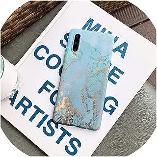 for Huawei P20 30 Pro用の大理石のテクスチャ発光電話ケースfor Huawei Mate 20 Nova 4 Honor 10 Cover Fashionのハードマットラグジュアリーケース,For Huawei P20 pro,Sky blue
