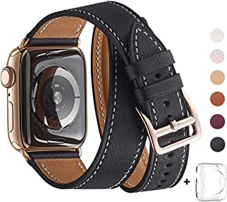 WFEAGL コンパチブル Apple Watch バンド, は本革を使い, iwatch series4/3/2/1 レザー製,Sport/Edition向けのバンド交換ストラップです コンパチブル アップルウォッチ バンド (42mm 44mm, 二重巻き型 ブラック バンド+ステンレススチールゴールド バックル)