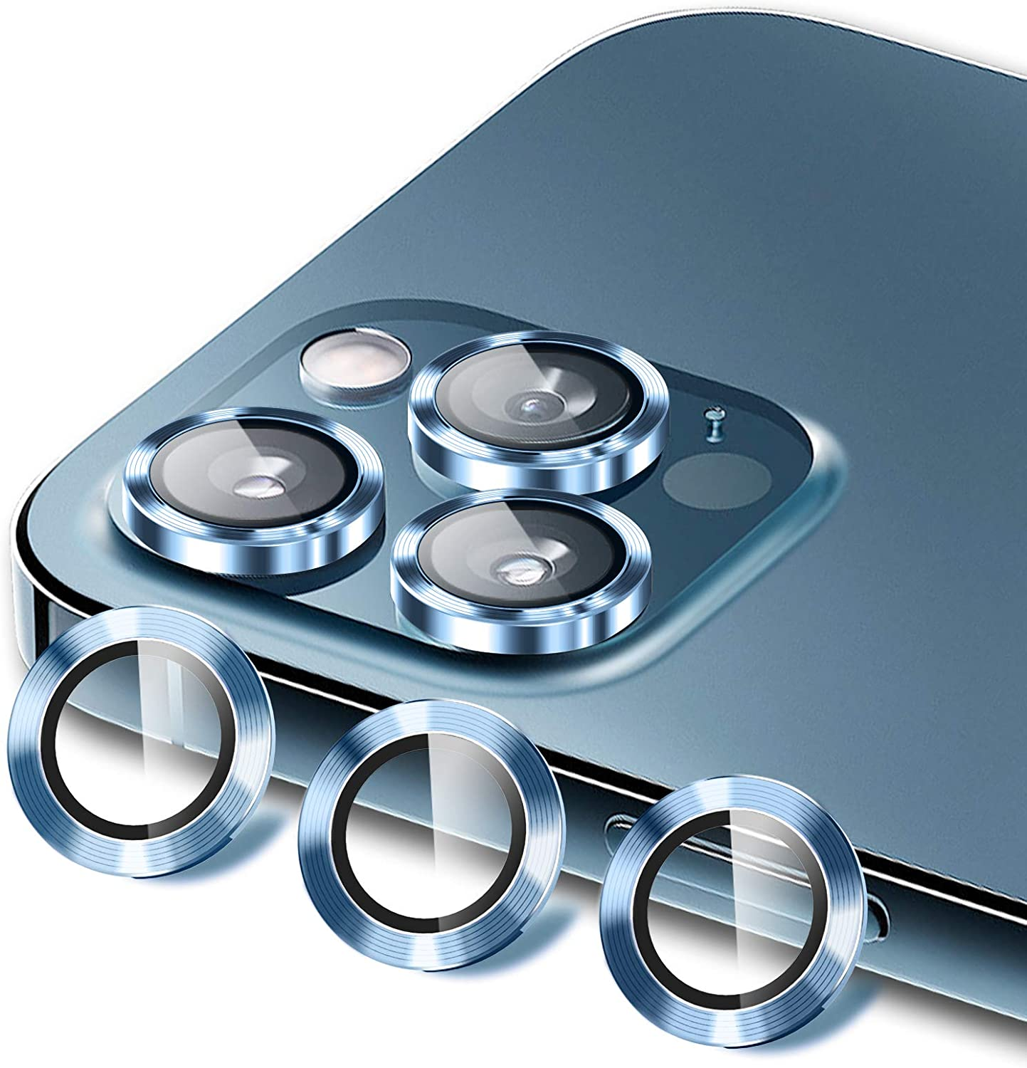 HATOSHI 6 Pack Camera Lens Protector Compatible with iPhone 12 Pro Max, HD Clear Premium 9H Tempered Glass Metal Aluminum Alloy Camera Screen Ring Circle Cover Film - Pacific Blue