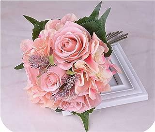 Pink Wedding Bouquet Bridal Holding Flowers Handmade Rose Artificial Flowers Bridal Bouquets, Dark Pink