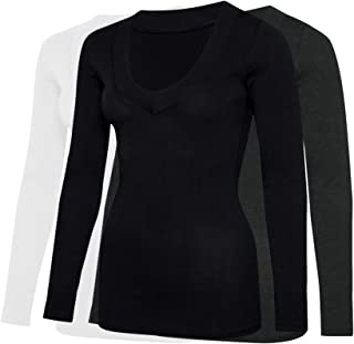 Free to Live 3 Pack Women's Thick Band V-Neck Long Sleeve T-Shirts - Long Length