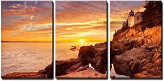 wall26 - 3 Piece Canvas Wall Art - The Bass Harbor Head Lighthouse in Acadia National Park, Maine, USA - Modern Home Decor Stretched and Framed Ready to Hang - 24