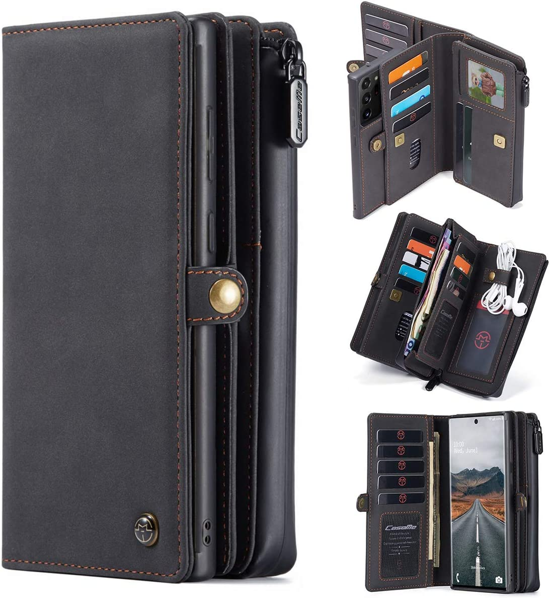 Genuine Leather Wallet Case Cell Phone Sleeve Holster, 17 Cards Holder RFID Protection+Detachable Magnetic Cover+Zipper Phone Pouch for Samsung Galaxy Note 20 Ultra 6.9-inch 2020 (Black, Note20)