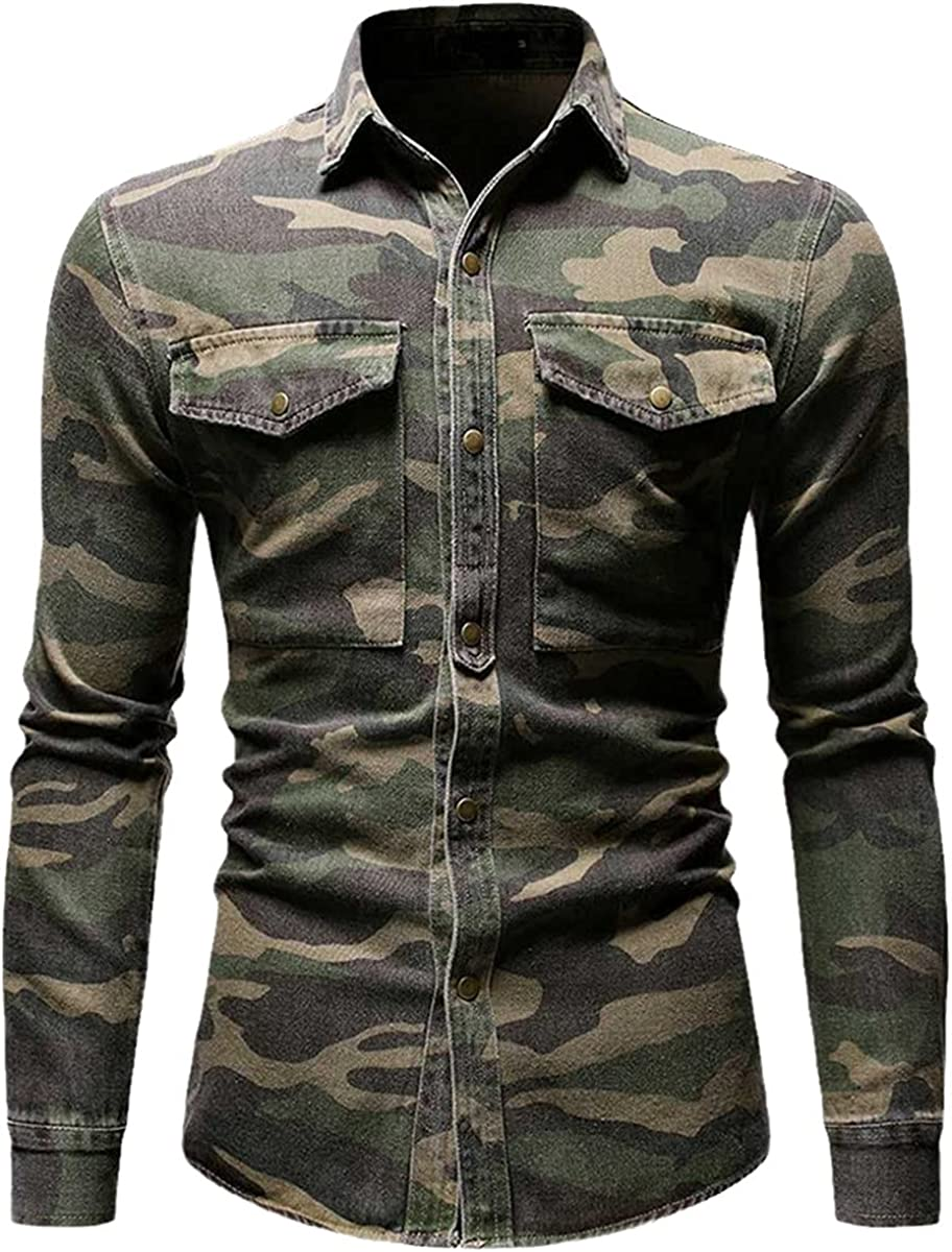 Spring and Autumn Camouflage Casual Shirt Long Sleeve Denim Shirt Men's Army Green Men's Top