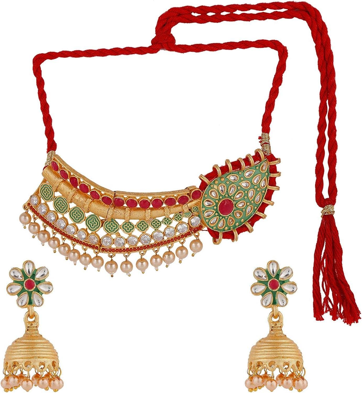 Efulgenz Indian Bollywood Traditional Kundan Pearl Wedding Choker Necklace Earrings Jewelry Set