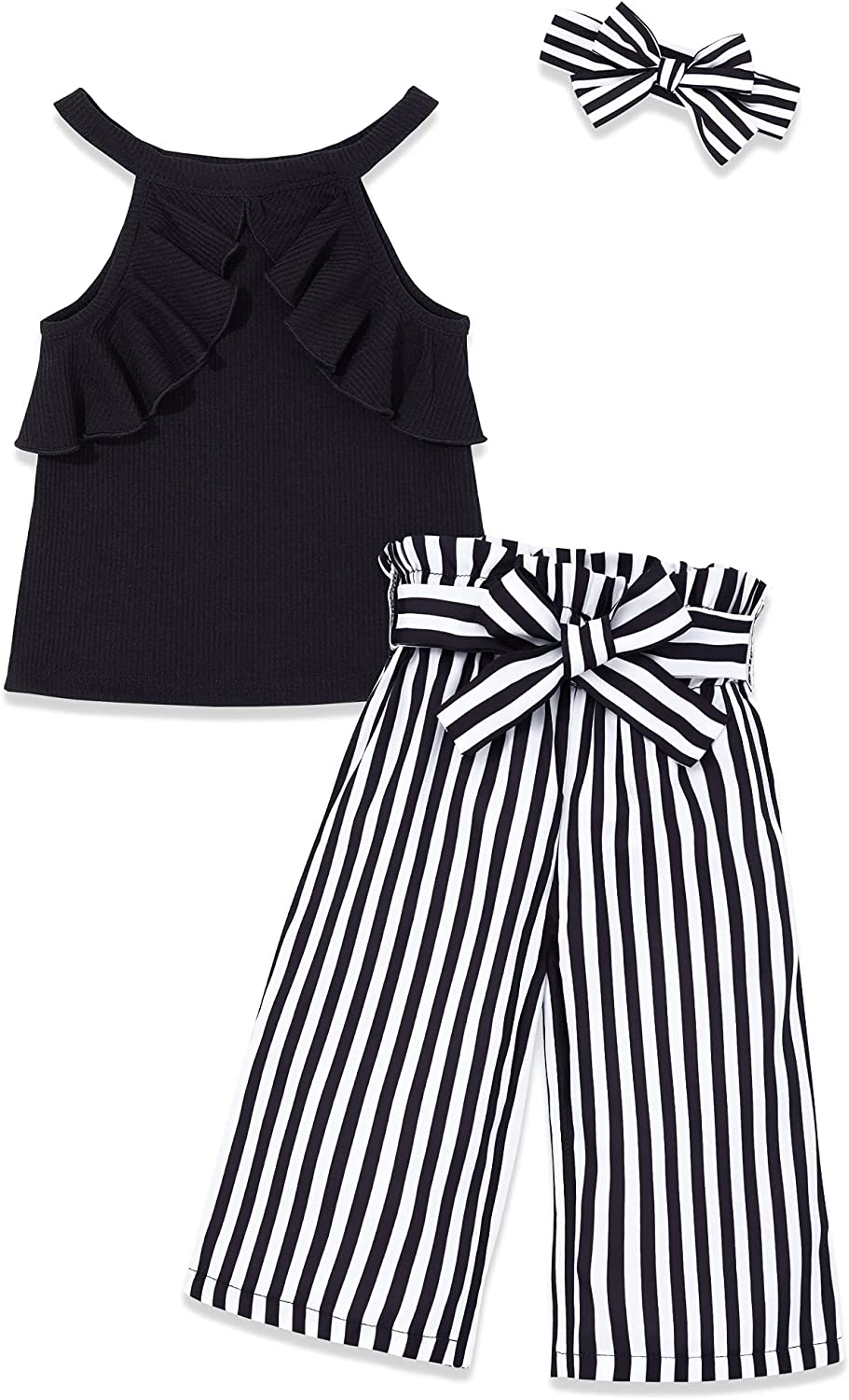 Toddler Girl Clothes Summer Outfits, Baby Girl Clothes Sets with Short Sleeve T-Shirt Top + Baby Bell Bottoms Pants 2Pcs Set