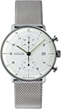 Junghans Max Bill Chronoscope Mens Automatic Chronograph Watch - 40mm Analog Silver Face with Luminous Hands and Date - Stainless Steel Mesh Band Luxury Watch Made in Germany 027/4003.44