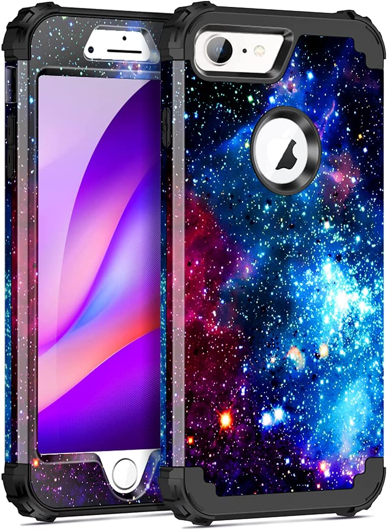 Miqala for iPhone 8 Case,iPhone 7 Case,Shiny in The Dark Three Layer Heavy Duty Shockproof Hard Plastic Bumper +Soft Silicone Rubber Case for Apple iPhone 8/7,Blue Sky