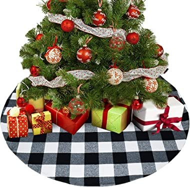 Senneny Buffalo Plaid Christmas Tree Skirt - Larger 3 Inch Red and Black Checked Tree Skirts Mat for Christmas Holiday Party Decorations - 4 ft Diameter (Black and White)