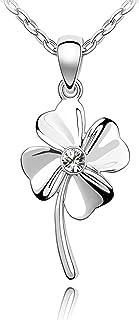 Quadiva E! - Collana da donna - con ciondolo a forma di quadrifoglio (colore: oro bianco) impreziosita con un scintillante...