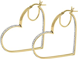 18K Yellow Gold Plated Sterling Silver Hoop Earrings for Women - Studded with Swarovski Austrian Crystals - Beautiful Fine Jewelry for Under $30