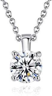 "Royaly | Necklaces for Women | 18K White Gold Plated Swarovski 7MM Crystal Pendant 18"" Necklace Jewelry 