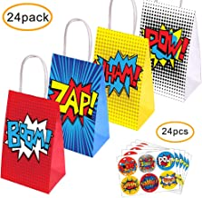 Superhero Party Supplies Favors, 24PC Superhero Party Bags For Superhero Theme Birthday Party Decorations with 24 Superhero Stickers