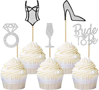Newqueen High Heel Underwear Ring Bride to Be Cupcake Toppers Glitter Cupcake Decoration Picks for Bridal Shower Wedding Party Supplies 20 Pack Silver