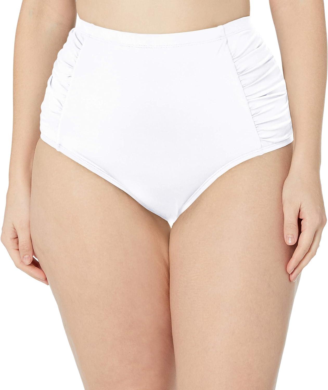 La Blanca Women's Island Goddess Side Shirred High Waist Bikini Swimsuit Bottom