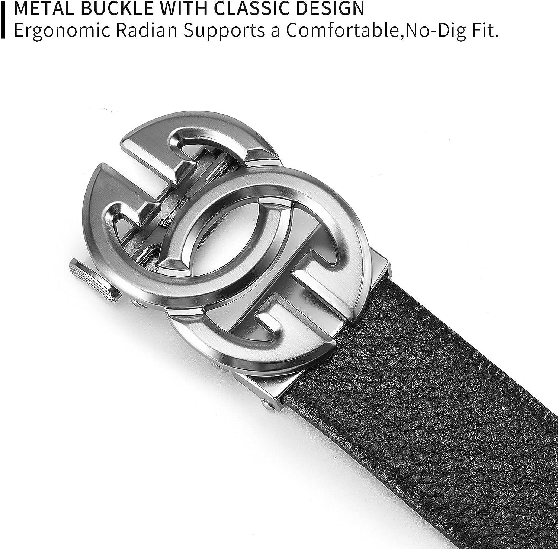 Fashion Mens Real Leather Ratchet Belt Black Adjustable Length Full Grain Soft Genuine Cowhide Strap 1.5 Inch Wide
