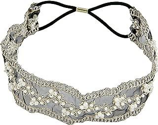Black Headband Elastic Lace, FuzzyGreen® Sweet Pearl Wide Elastic Bridal Headpiece Hair Accessory