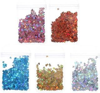 Beaupretty 5 sacos de folhas de outono com glitter, lantejoulas, folha de bordo 3D, holográfica, decoração de unhas, confe...