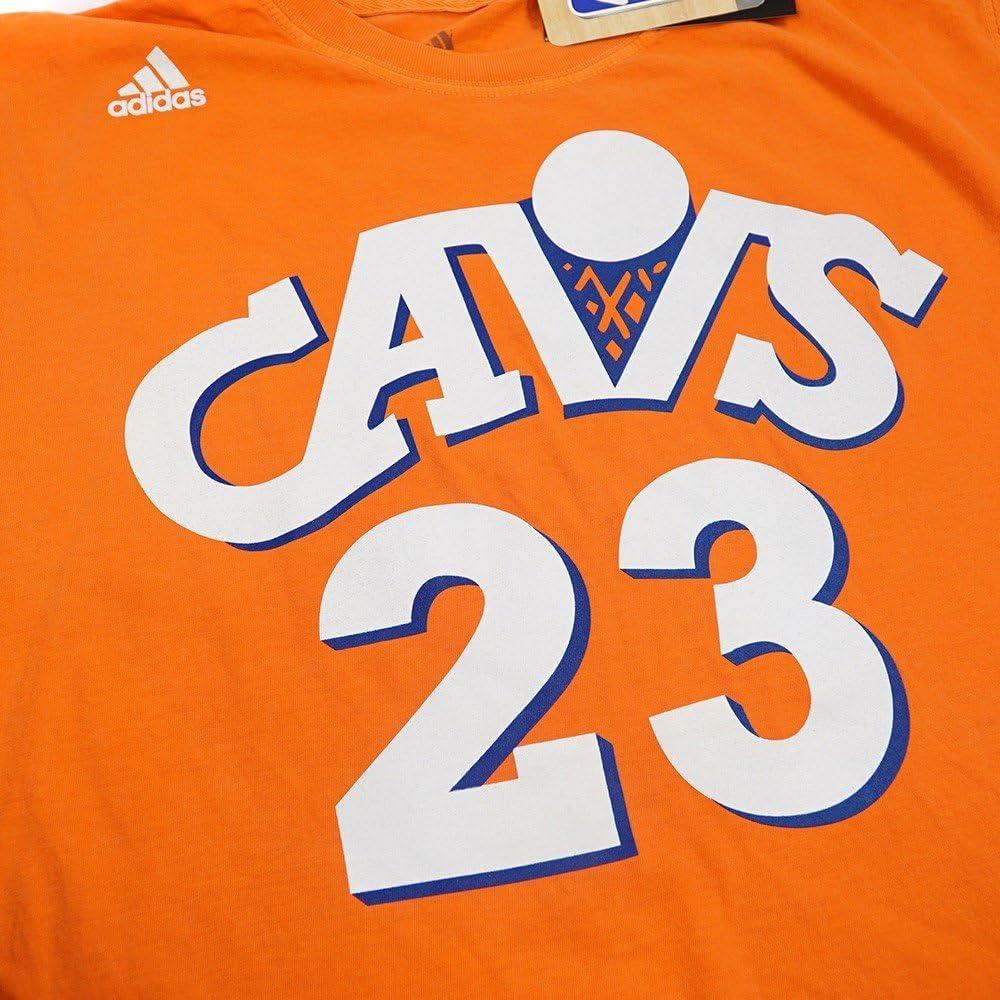 adidas Lebron James Cleveland Cavaliers NBA Men Orange Player Name & Number Pigment Dye Jersey T-Shirt (2XL)