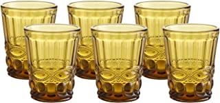 Colored Water Glasses Vintage-inspired Pattern 7.5 Ounce Wedding Glasses set of 6- Solid Glass Color (Amber)