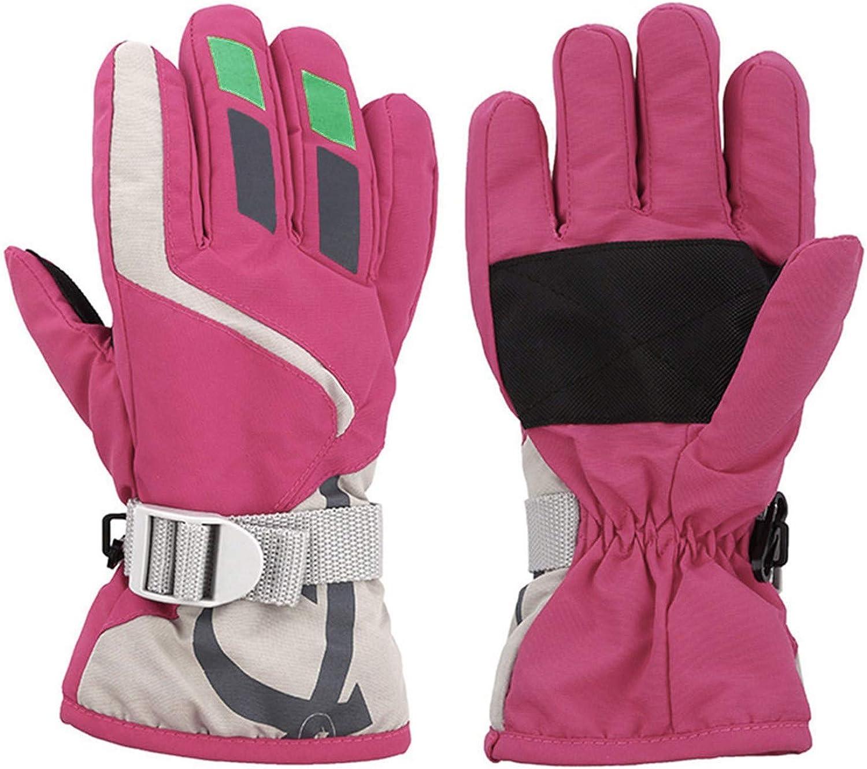 Kids Ski Gloves Winter Warm Lining Snow Adjustable Waterproof Windproof Cold