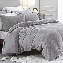 Bedsure Fleece Duvet Cover Double - Teddy Fleece Bedding 3 pcs with Zipper Closure, Silver Grey, 200x200cm
